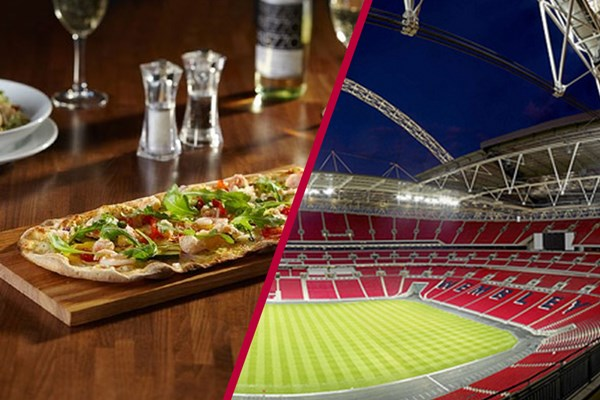 Wembley Stadium Tour and Three Course Meal with a Glass of Wine for Two at Prezzo