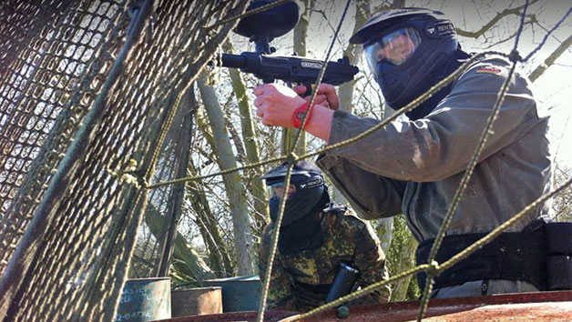Full Day Paintballing with Pizza, Glove Hire and 100 Paintballs Each for Two Adults and Two Children