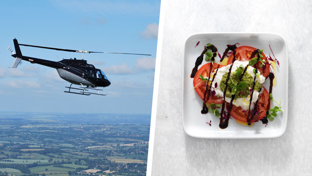 12 Mile Helicopter Flight with Bubbly and a Three Course Meal with Wine at Prezzo for Two