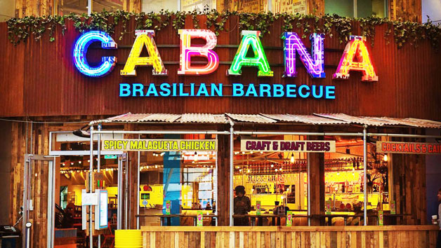 Three Course Meal with a Glass of Wine for Two at Cabana