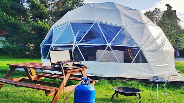 One Night Glamping Break with Bottle of Fizz for Two in Dome, Yurt or Bell Tent