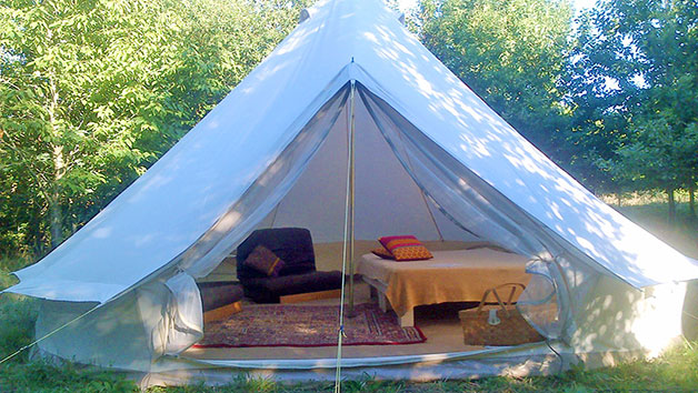 One Night Glamping Stay with a Hot Tub and Fizz for Two in Dome, Yurt or Bell Tent