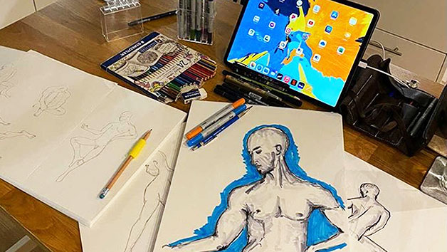 Online Life Drawing Class for Two with a Charcuterie Platter