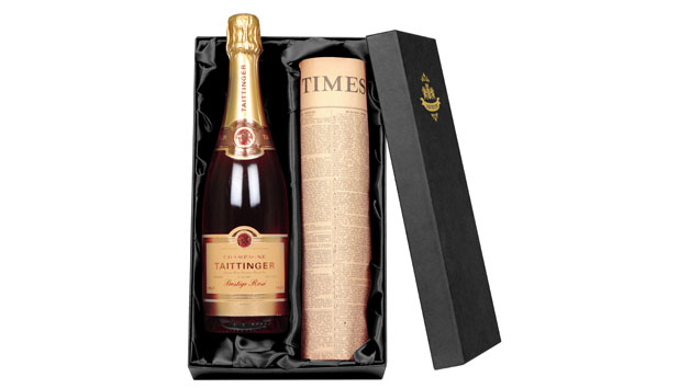 Taittinger Rose Champagne With Newspaper in a Luxury Gift Box