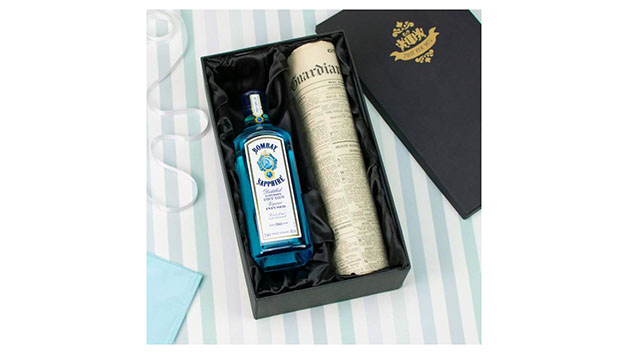 Bombay Sapphire Gin and Original Newspaper