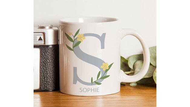 Personalised Floral Initial Mug