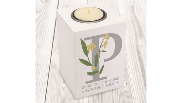 Personalised Initial Wooden Tea Light Holder
