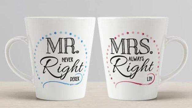 Personalised Mr & Mrs Right Mug Set