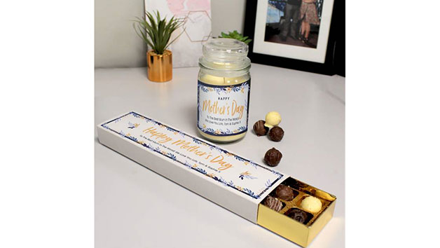 Like a Mum to Me Candle and Chocolate Truffles with Customisation