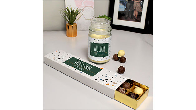 Personalised Candle and Chocolate Truffles Gift Set