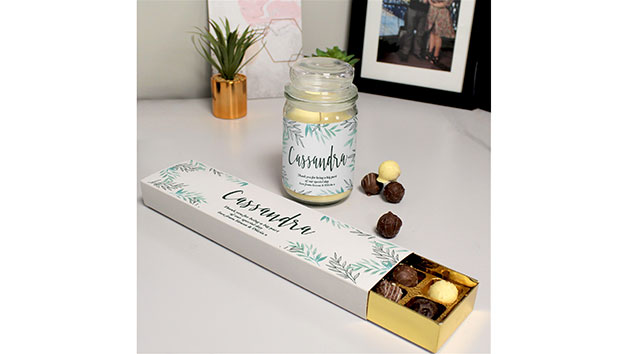 Floral Candle Jar and Personalised Truffles Set