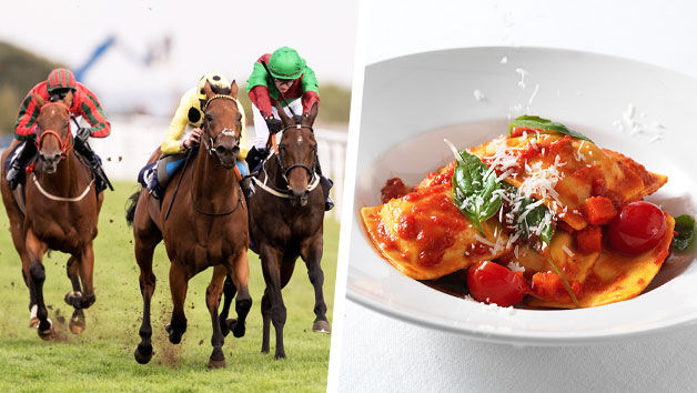 Day at the Races and Three Course Meal with Wine at Prezzo for Two