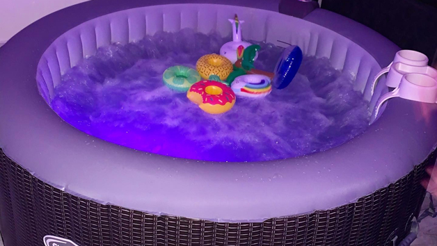 Hot Tub and Movie Screen Inflatable Package for Four People with The Outdoor Vibes Company