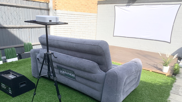 Flat Projector Screen and Seating Movie Night for Two People with The Outdoor Vibe Company