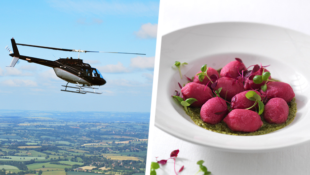 6 Mile Blue Skies Helicopter Flight with Bubbly and Three Course Meal with Wine at Prezzo for Two