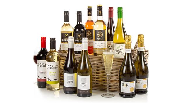 Twelve Wines in Traditional Wicker Basket