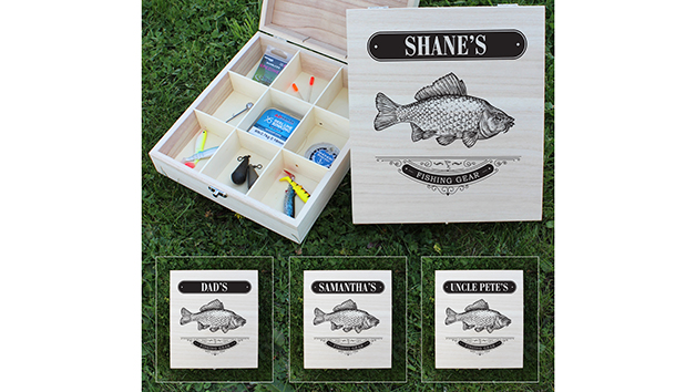 Fishing Gear Wooden Box with Personalisation