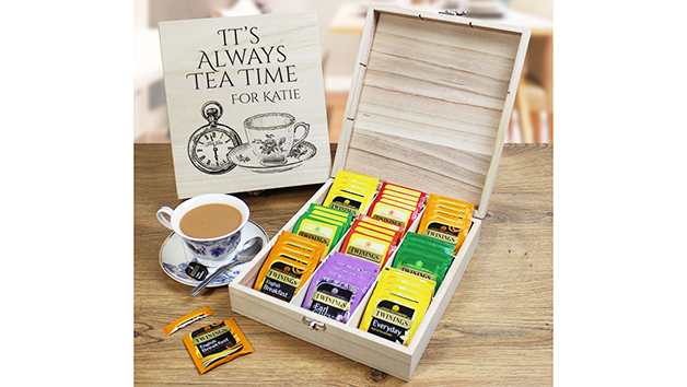 Personalised Wooden Tea Chest with Twinings Tea