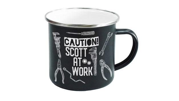 Personalised Work Enamel Mug