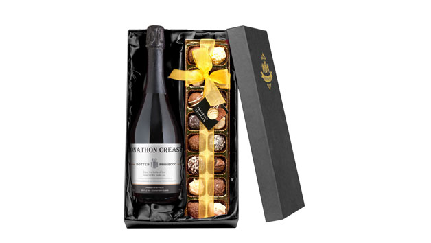 Personalised Bottle of Prosecco with Chocolate Truffles Gift Box