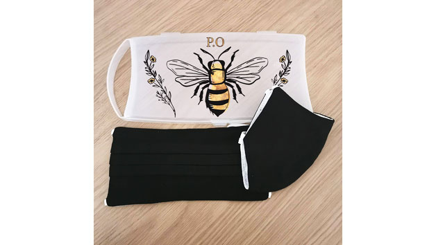 Set of Two Black Face Masks and a Personalised Bee Print Case