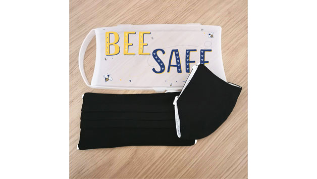 Pack of Two Black Face Masks and a Personalised Bee Safe Print Case