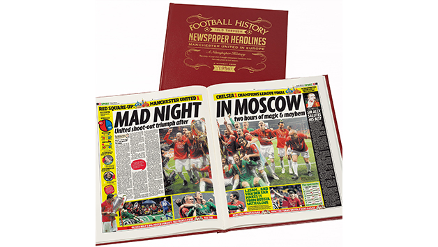 Manchester United Football in Europe Personalised Newspaper Book
