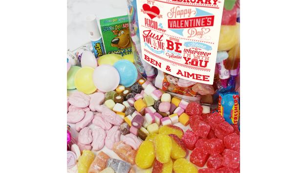 Personalised Be My Valentine Large Retro Sweet Jar