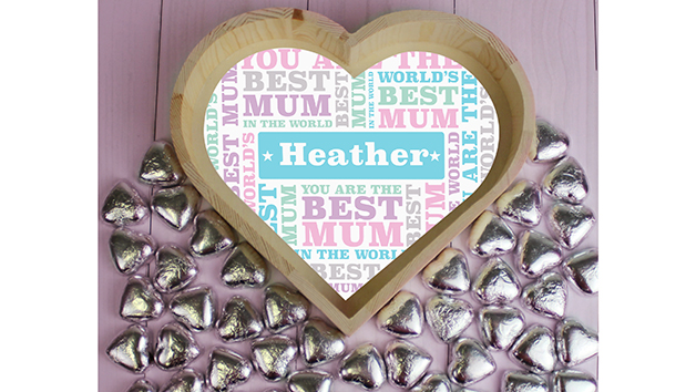 Best Mum Large Tray with Chocolate Hearts