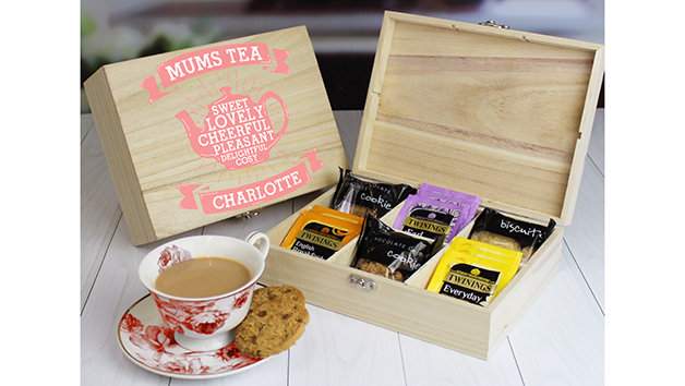 Wooden Tea Chest with Twinings Tea and Biscuits for Mum