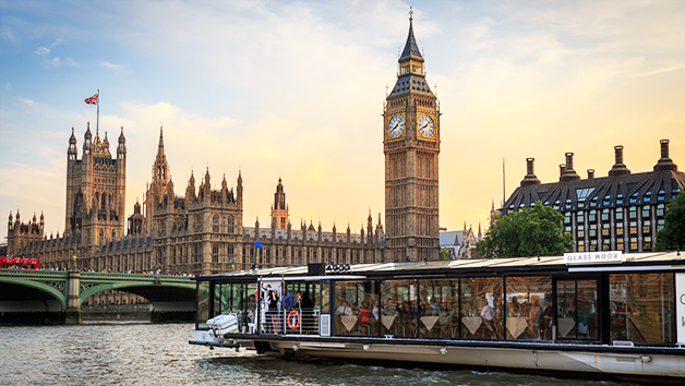 Bateaux London River Thames Three Course Sunday Lunch Cruise for Two with a Bottle of Wine