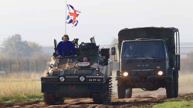 Military Driving Experience in an Alvis Spartan and Volvo BV202 for One Adult and One Child