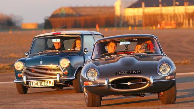 Jaguar E-Type vs a Classic Mini Cooper S Driving Showdown for Two