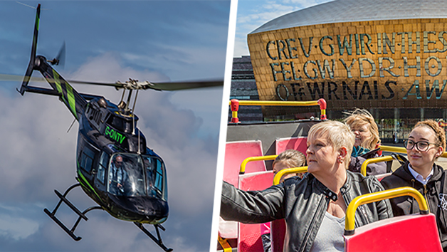 25 Mile Helicopter Ride and Tickets for a Hop-on Hop-off City Bus Ride for Two