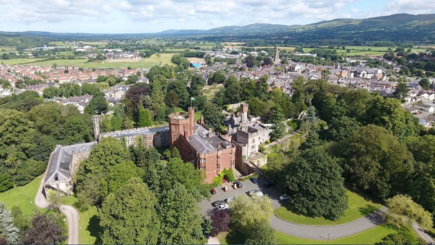 Three Course Meal and a Glass of Wine at the Ruthin Castle Hotel for Two