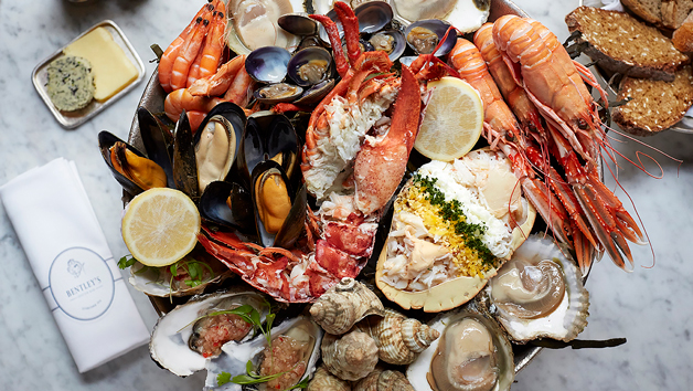 Royal Seafood Sharing Platter with a Glass of Champagne at Bentley's Oyster Bar & Grill for Two