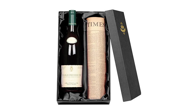Chablis Premier Cru Wine and Newspaper in Luxury Gift Box