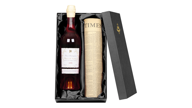 Vintage Armagnac Brandy and Newspaper in a Silk Lined Gift Box