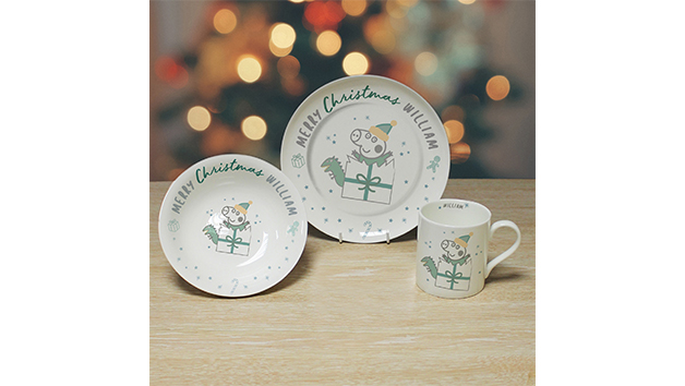 Christmas Personalised Peppa Pig George Pig Breakfast Set
