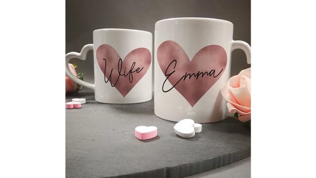 Personalised Rose Gold Heart Handled Mug