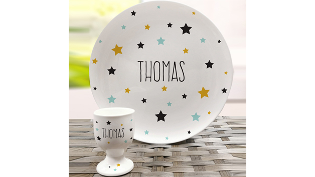 Star Bone China Plate and Egg Cup with Personalisation
