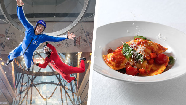 Buy iFLY Indoor Skydiving Experience and Three Course Meal with Wine at Prezzo for Two