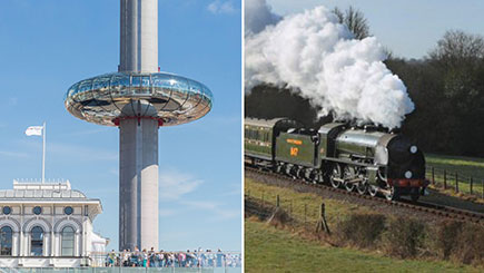 Bluebell Railway Trip and British Airways i360 Flight with Bubbles for Two