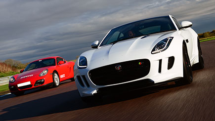 Jaguar F Type versus Porsche Driving at Thruxton