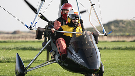 Extended Flexi Wing Microlight Flying in East Riding