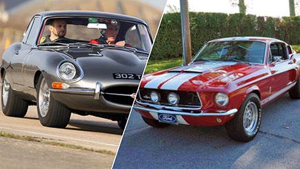 E-Type Jaguar versus Classic Mustang Driving
