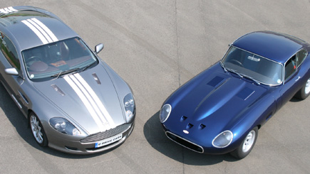 E-Type Jaguar vs Aston Martin Driving with Hot Ride