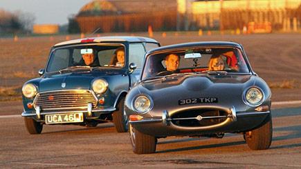 E-Type Jaguar versus Classic Mini Cooper S Driving