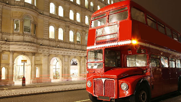 Vintage London Bus Tour, Thames Cruise And Fish And Chips For Two